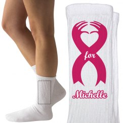 Breast Cancer 5K Walk Socks With Custom Name