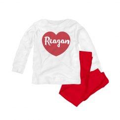 Cute Custom Baby Valentine PJ Set