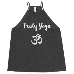 Truly Yoga Om Flowy High Neck Tank (Dark Grey Heather)
