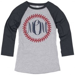 Baseball Mom Monogram Raglan