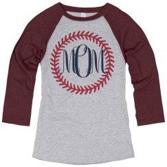 Baseball Mom Monogram Raglan
