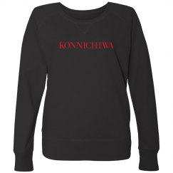 Konnichiwa Black Sweatshirt Red Text