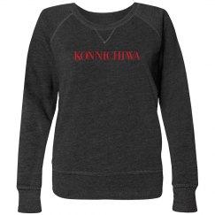 Konnichiwa Black Sweatshirt Red Text