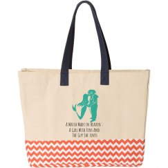 Mermaid and Diver Tote Bag