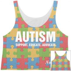 Autism All Over Print Crop Top