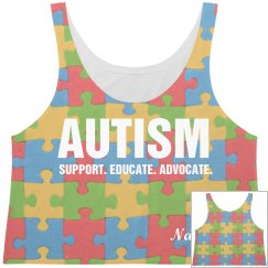 Autism All Over Print Crop Top