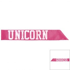 Unicorn Goddess Sash - Hot Pink/Pearl White