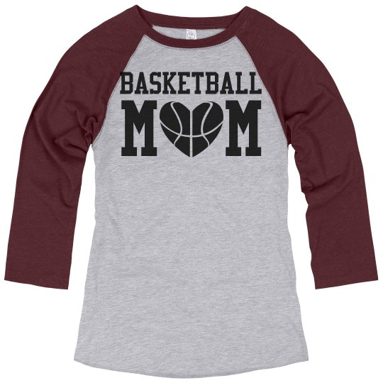 cca66d67 Plus Size Basketball Mom Shirts Ladies Relaxed Fit 3/4 Sleeve Raglan T-Shirt