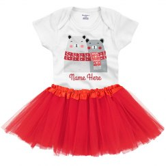 Custom Name Baby Tutu & Onesie Holiday Polar Bears