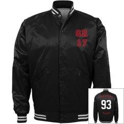 GR17 baseball jacket red face flip