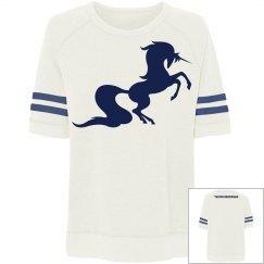 Unicorn relaxed tee sweatshirt - white/navy