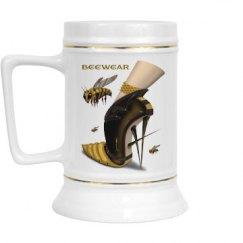 Beewear 28 Oz Gold Trim Ceramic Stein