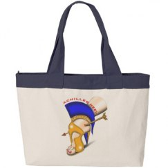 Achilles Heel Zippered Canvas Tote Bag