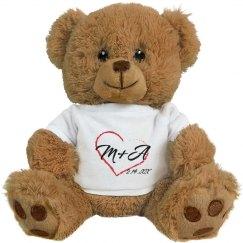 Initials Anniversary Love Bear