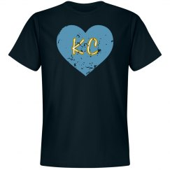 I Heart KC - navy/light blue - ultrasoft - distressed