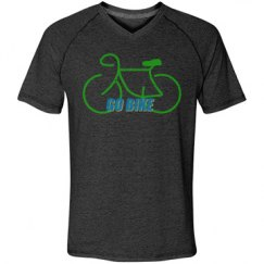 Go Bike -  Men's Tri-Blend V-neck Tee