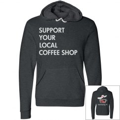 Support Your Local Coffee Shop Two tone Pullover Hoodie