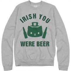 Irish You Were Beer Green Cat