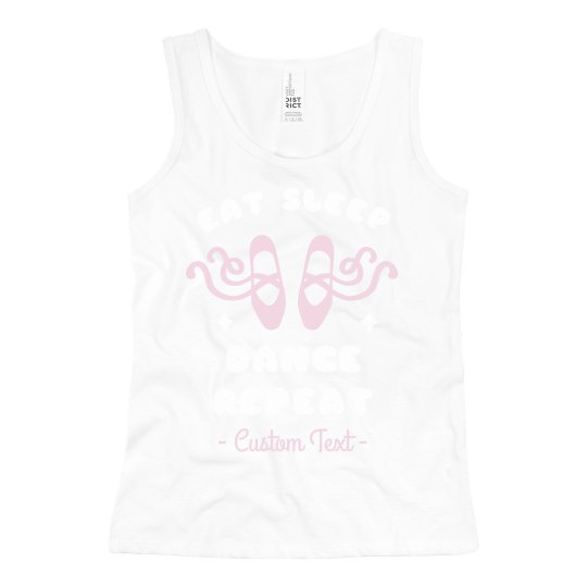 Eat Sleep Dance Repeat Custom Girl's Ballet Tank