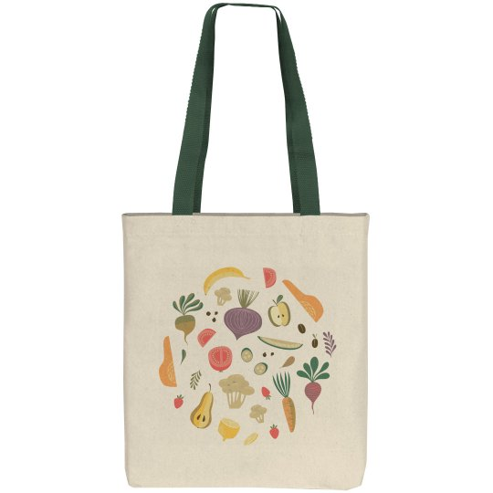 Eat Your Veggies Cute Plant Print Grocery Tote