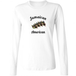 Jamaican-American Flags Long Sleeve Tee Shirt