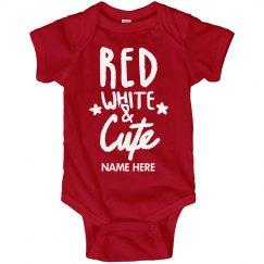 Custom Name Red White & Cute