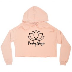 Truly Yoga Cropped Fleece Hoodie (Peach)