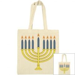 Yellow Menorah Blue Candles