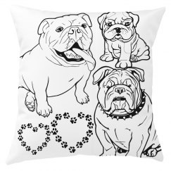 Bulldog love pillow cover