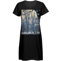 Winter Landscape T-Shirt Dress