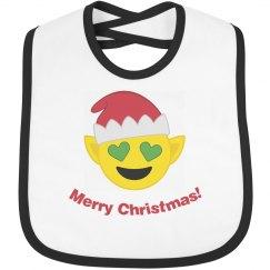Elf Christmas Emoji Bib  black trim