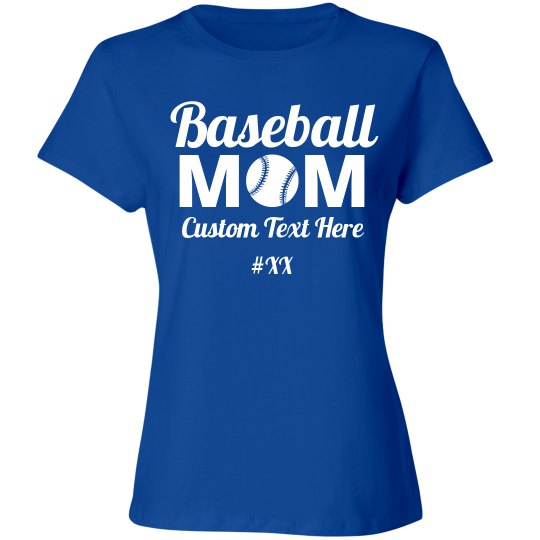 d6688ca8 Custom Baseball Mom Number Ladies Relaxed Fit Cotton Basic T-Shirt