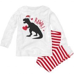 Dinosaur Christmas pajamas for toddlers