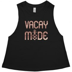 Vacay Mode Ladies Racerback Cropped Premium Tank