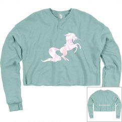 #theunicornbikinibabe Crop Sweatshirt - Dusty Blue