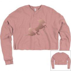 #theunicornbikinibabe Crop Sweatshirt - Dusty Mauve