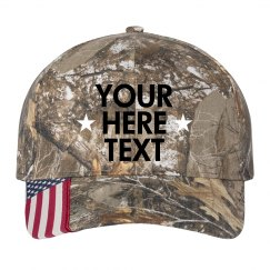 Custom Text Star Flag Hat