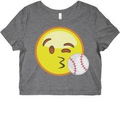 Emoji Baseball Crop Top