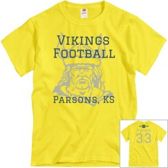 Vikings Football Yellow Personalized