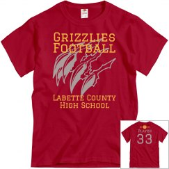 Grizzlies Football Red Personalized