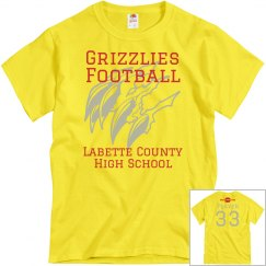 Grizzlies Football Yellow Personalized