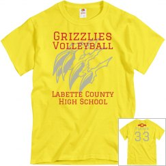 Grizzlies Volleyball Yellow Personalized