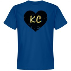 I Heart KC - royal/black - ultrasoft - distressed