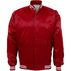 Inexpensive Sporty Baseball Bomber Jacket in Red