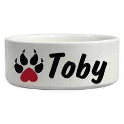 Toby, dog bowl