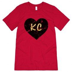 I Heart KC - red/black - ultrasoft - distressed