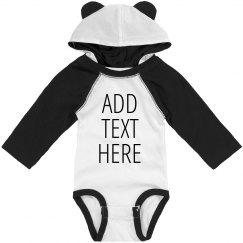 Add Custom Text Hooded Bodysuit