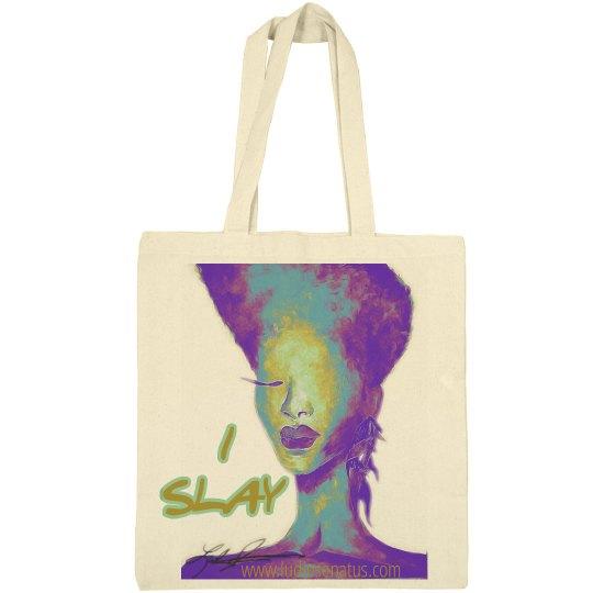 "Electric purple ""I Slay"" small Tote bag"