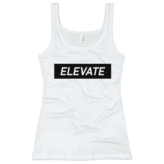 Elevate White Tank Top- Blk Logo