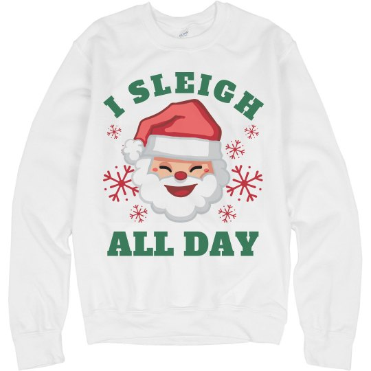 a54754ffb I Slay All Day Christmas Santa Unisex Basic Promo Crewneck Sweatshirt